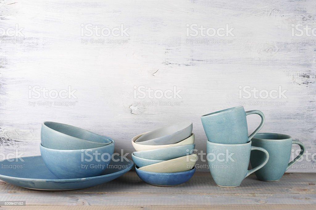Ceramic dishware set stock photo