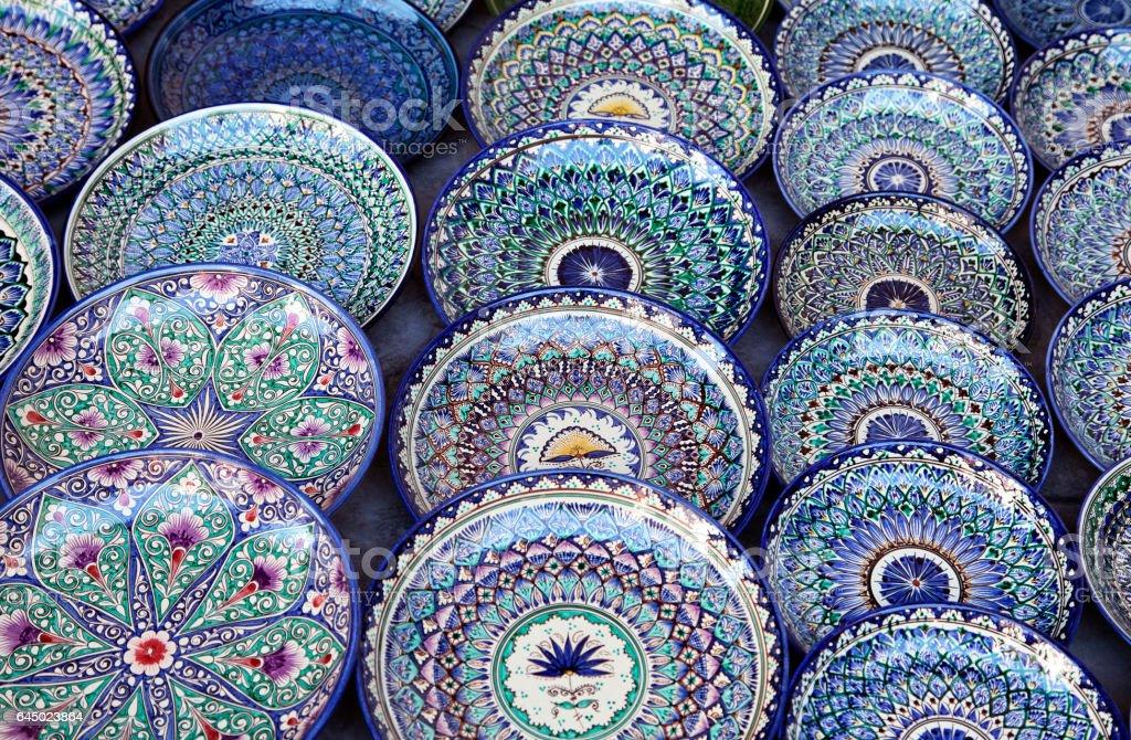 Ceramic dishware, Uzbekistan stock photo