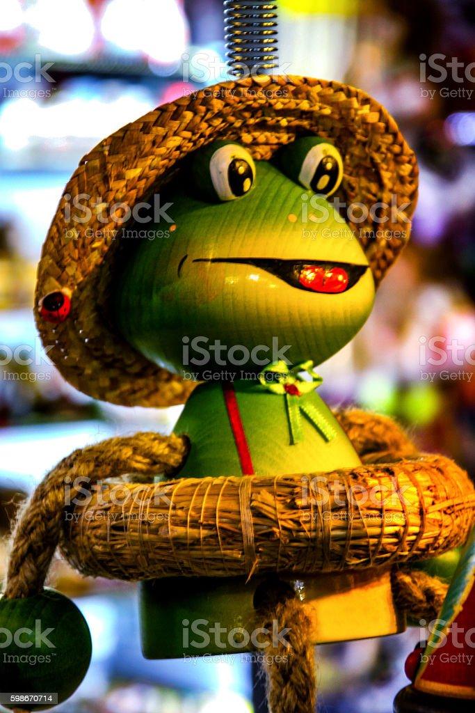 Ceramic doll frog stock photo