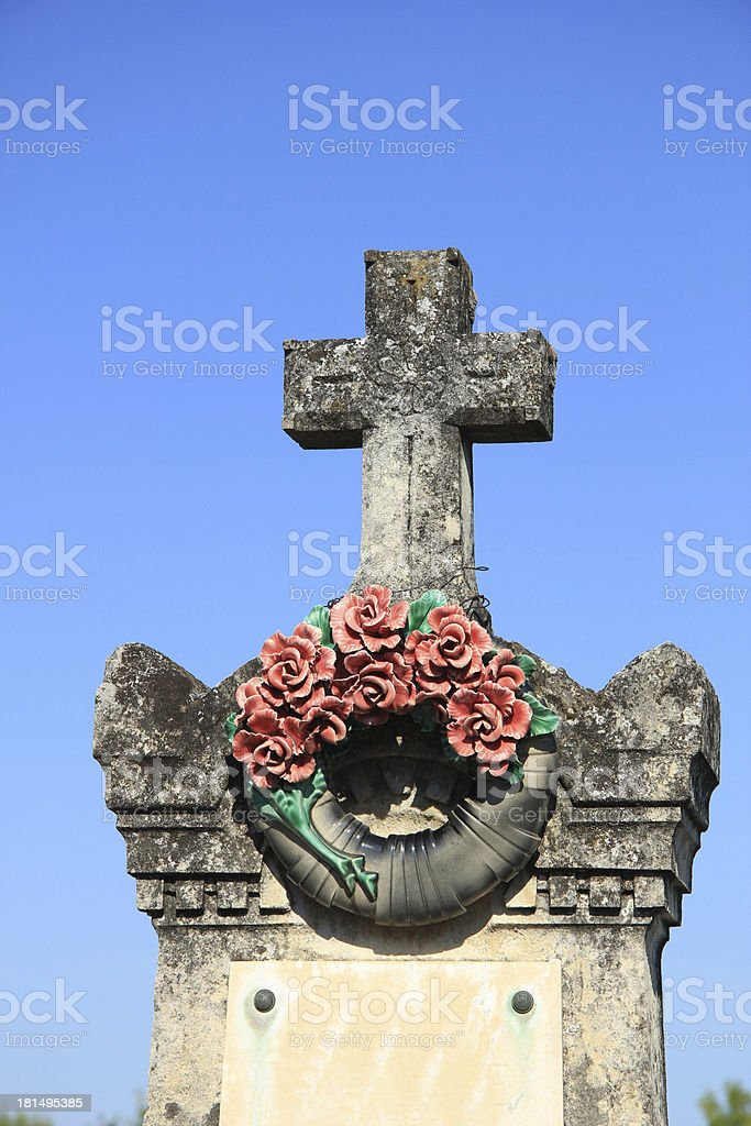 Ceramic flowers funeral wreath royalty-free stock photo