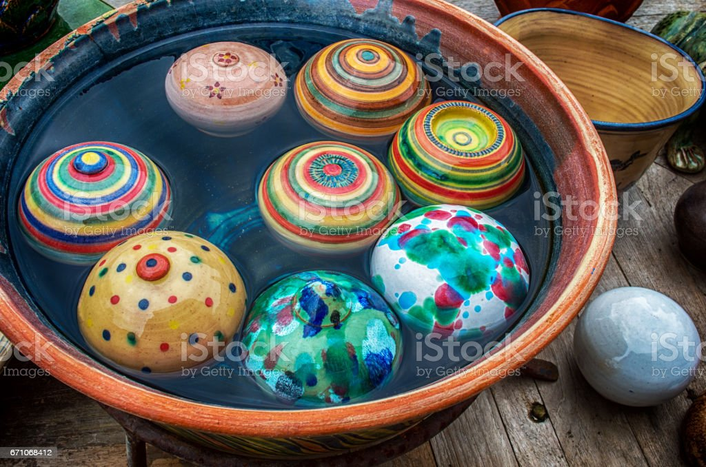 Ceramic garden pottery stock photo
