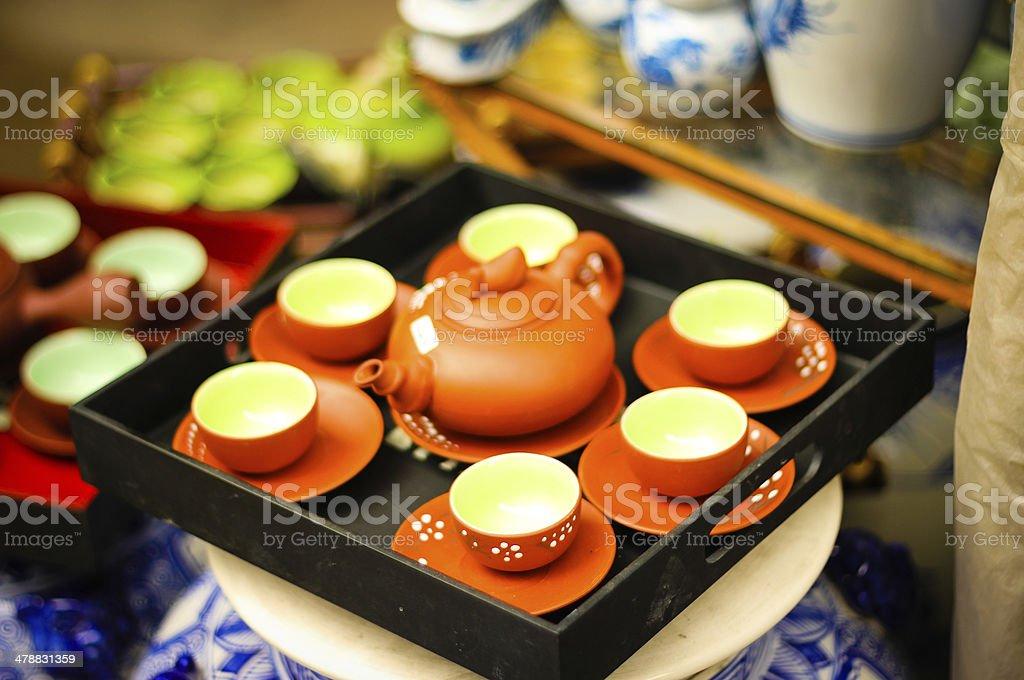 Ceramic goods in Bat Trang village - Vietnam stock photo