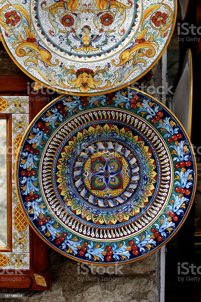 Ceramic Handpainted Plates Italy royalty-free stock photo