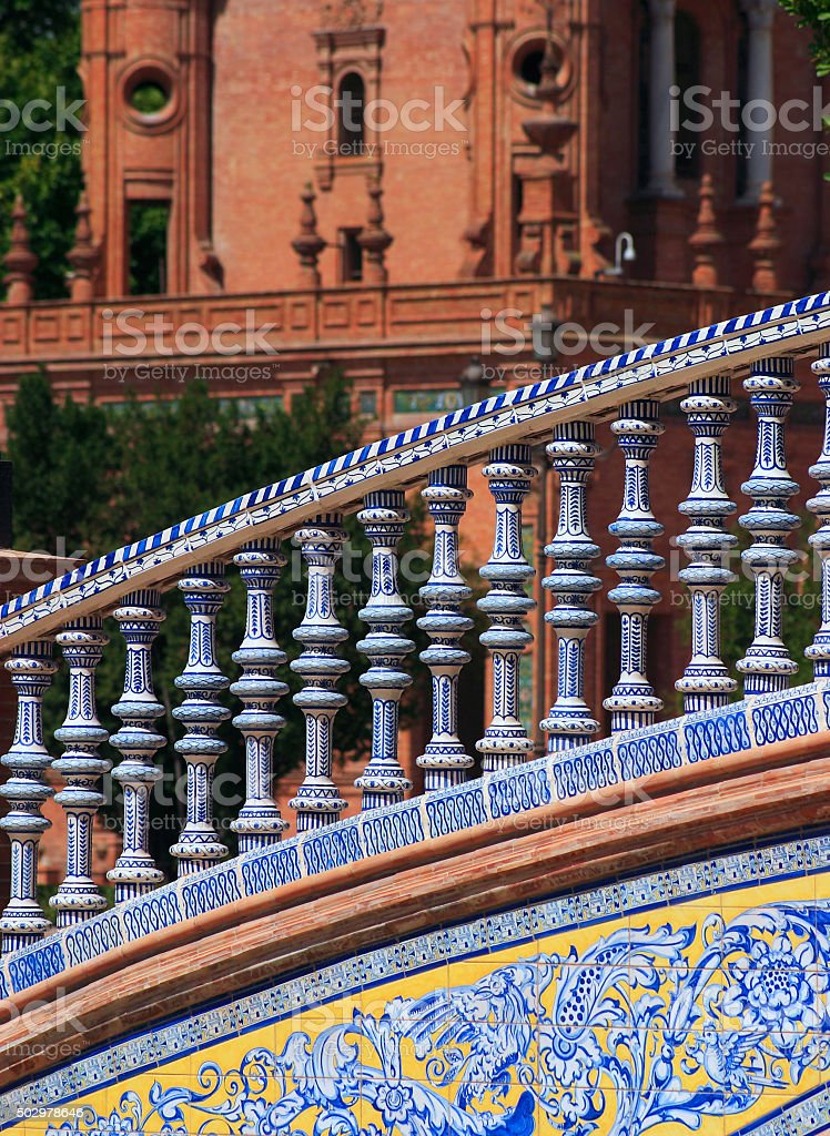 Ceramic handrail, Spanish Place or Square. Seville, Andalusia, Spain. stock photo