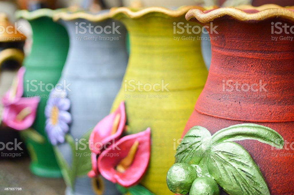 Ceramic handycrafts in the shops near Masaya, Nicaragua stock photo