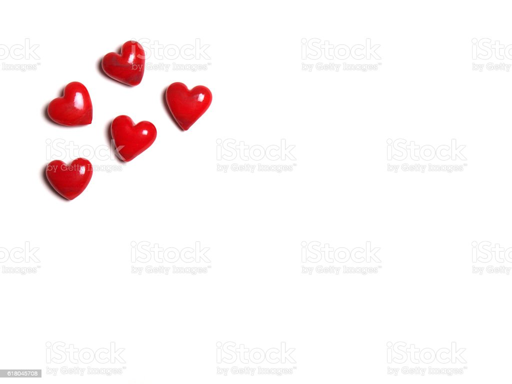 ceramic hearts on white background stock photo