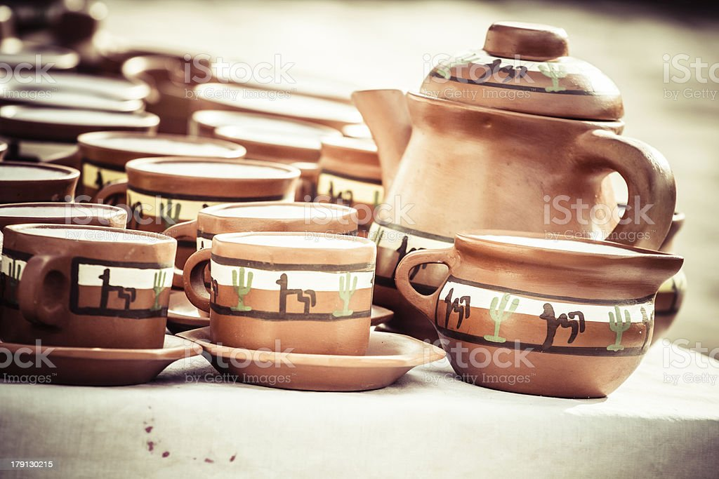 Ceramic in local market, Peru, South America. royalty-free stock photo
