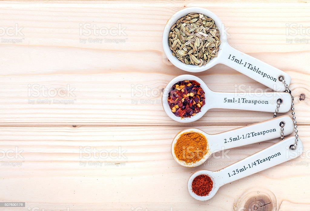 Ceramic measurement spoons filled with various spices viewed from above. stock photo