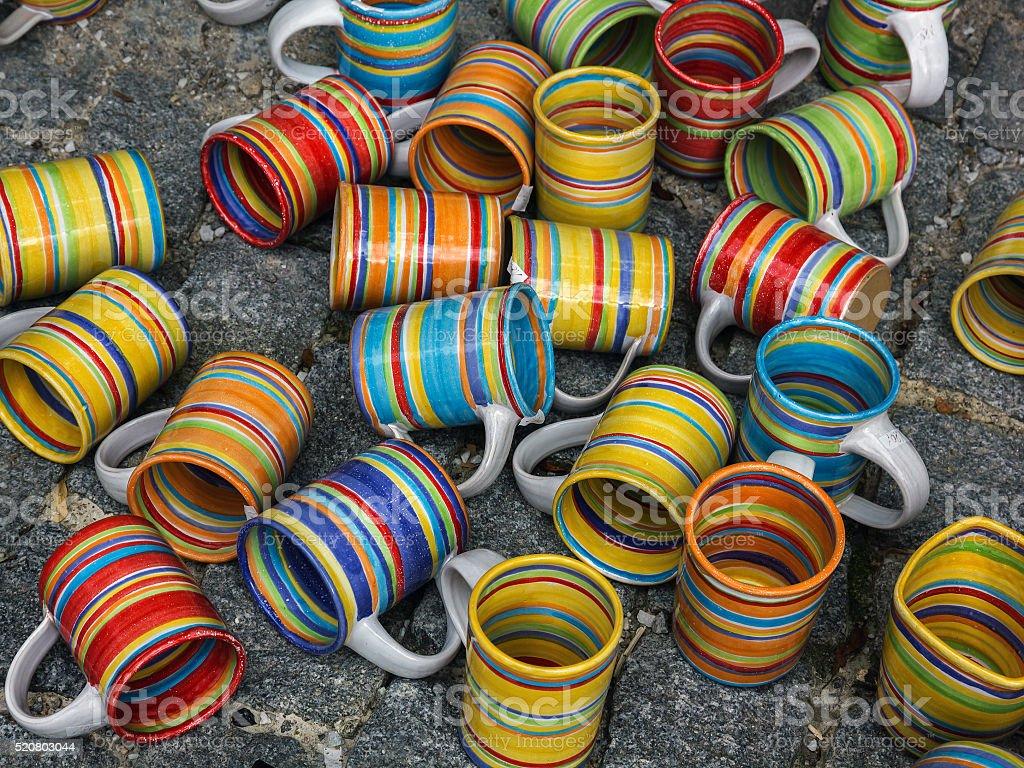 Ceramic mugs at market. stock photo