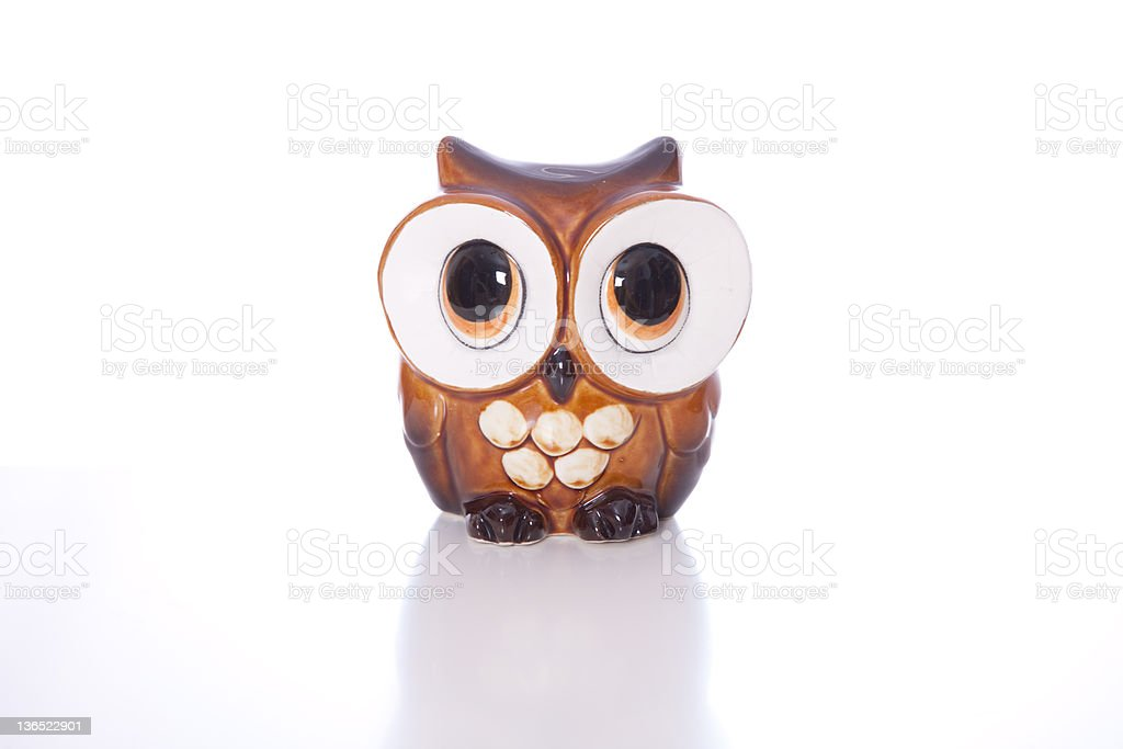 Ceramic Owl Piggy Bank stock photo