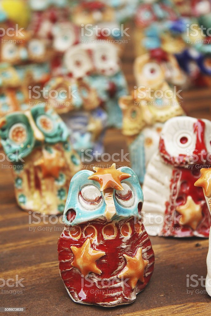 Ceramic owls collection royalty-free stock photo
