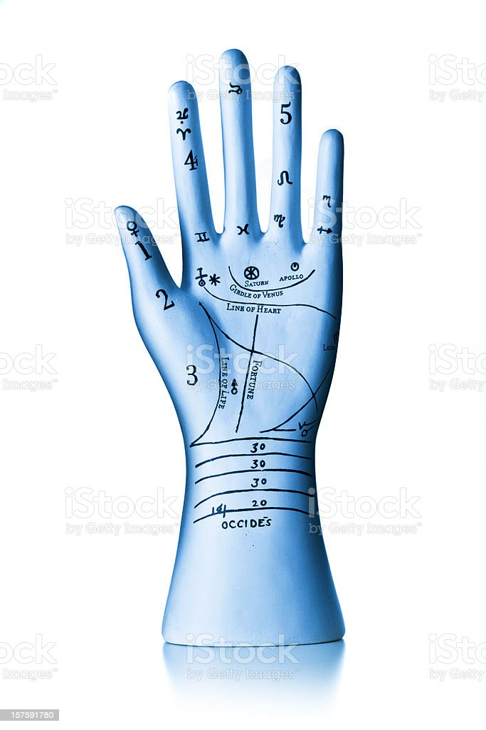 Ceramic Phrenology hand stock photo