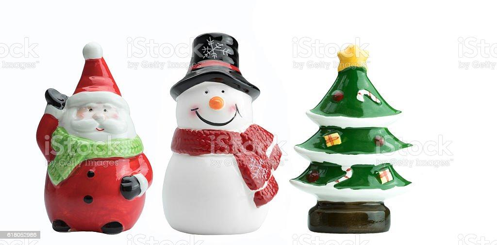 Ceramic Santa Claus , Snowman and Christmas tree models stock photo