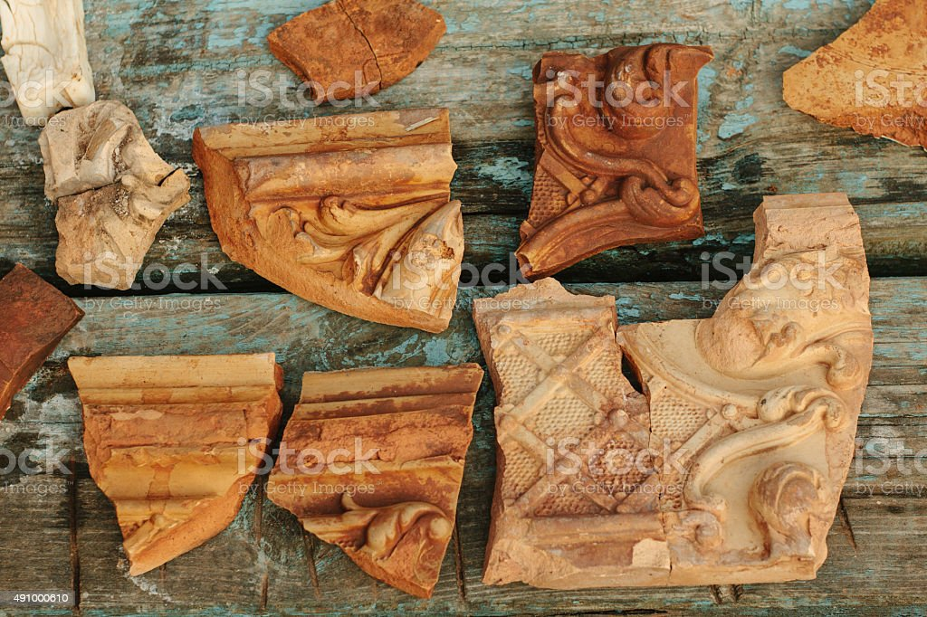 Ceramic smithereens stock photo