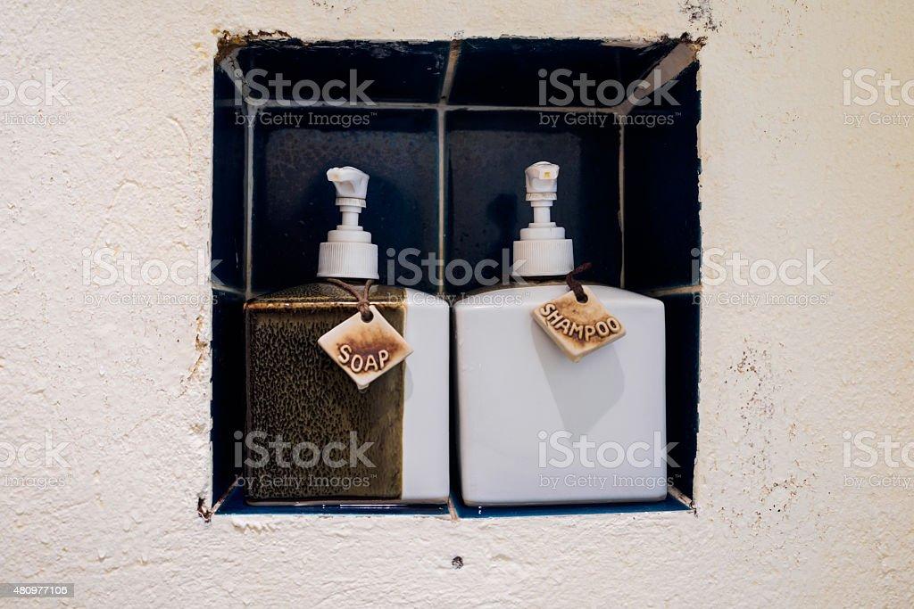 Ceramic Soap and Shampoo Bottles stock photo