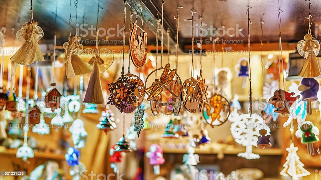 Ceramic souvenirs at Christmas market in Riga stock photo
