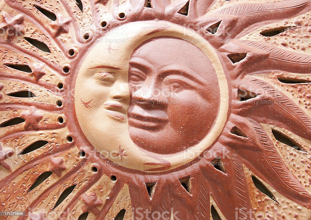 Ceramic Sun and Moon Face Mexican Pottery Decor royalty-free stock photo