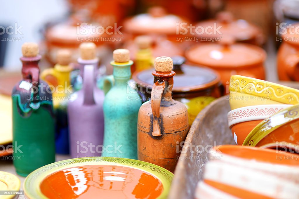 Ceramic tableware sold on Easter market in Vilnius stock photo