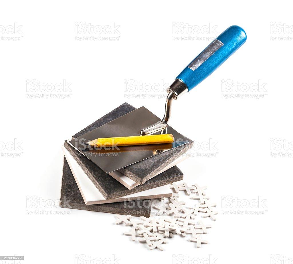 ceramic tiles and tools closeup stock photo