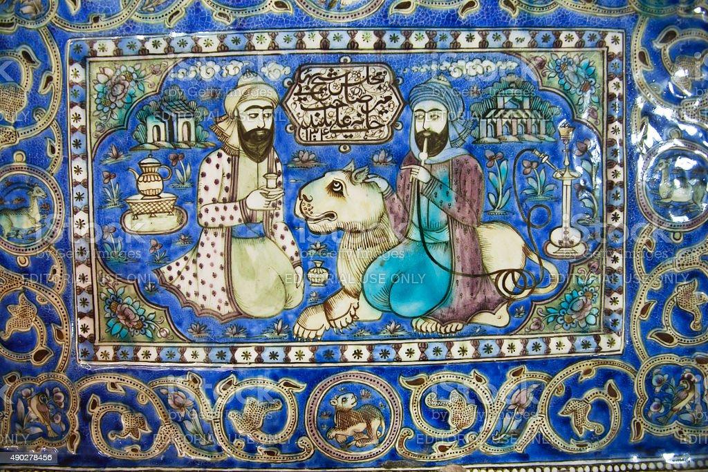 Ceramic tiles of Iran, 19th century stock photo