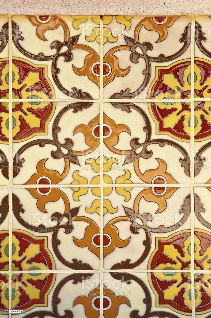 ceramic tiles wall decoration stock photo