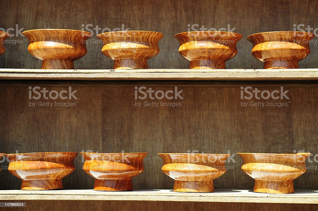 Ceramic urns on rack  clay stock photo