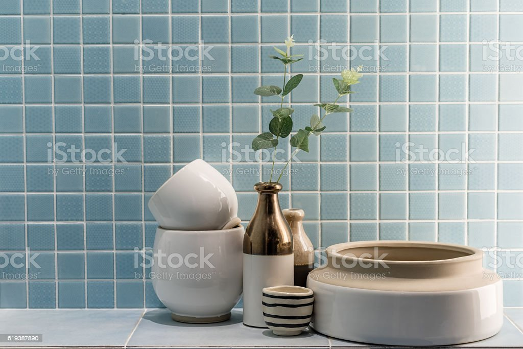 ceramic vase and bowl decoration in a bathroom stock photo
