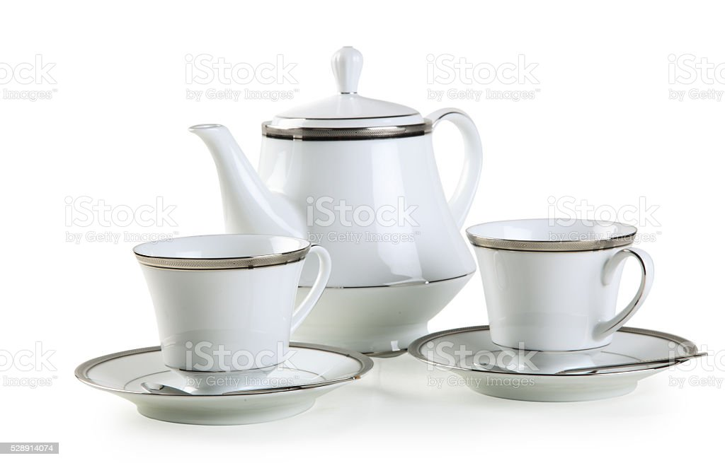 Ceramic vintage tea pot stock photo