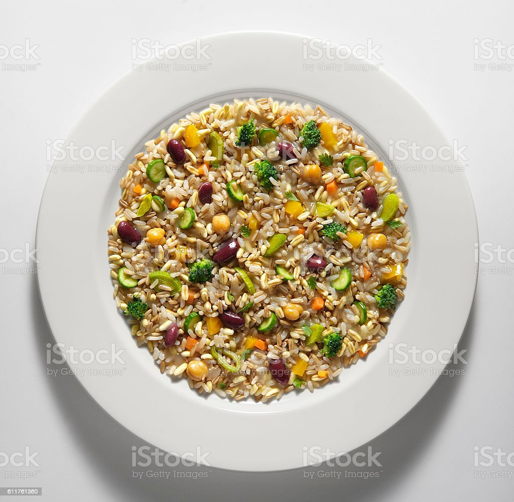 Cereal and vegetable salad stock photo