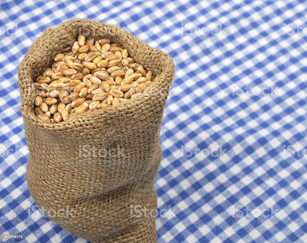 Cereal bag on cloth stock photo