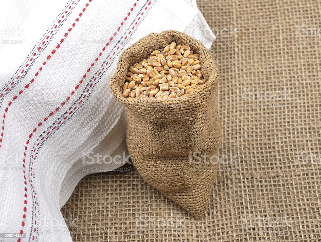 Cereal bag on jute stock photo