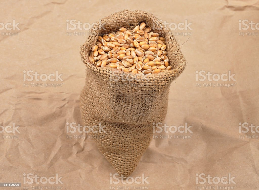 Cereal bag on kraft paper stock photo