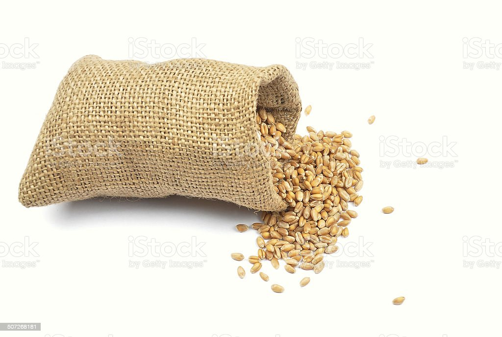 Cereal bag on white stock photo