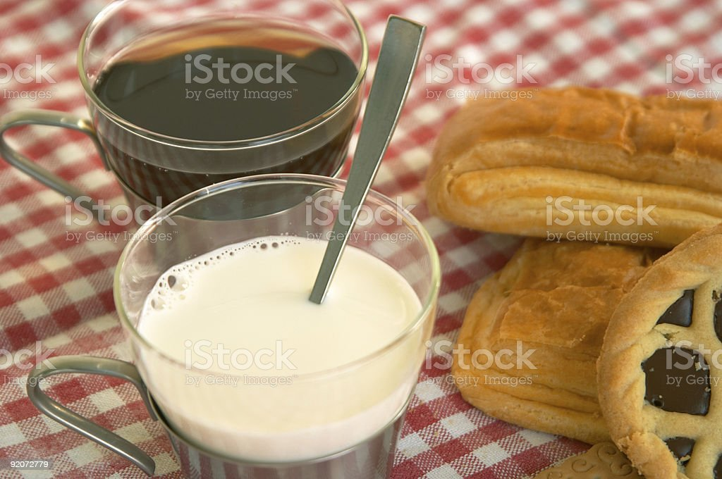 Cereal biscuits, chocolate cake: Italian style breakfast royalty-free stock photo