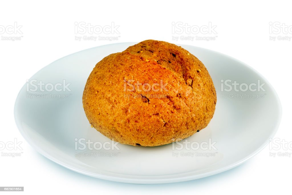 Cereal bread on a plate stock photo