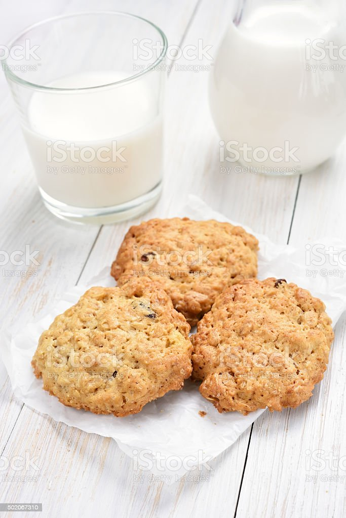 Cereal cookies and milk stock photo
