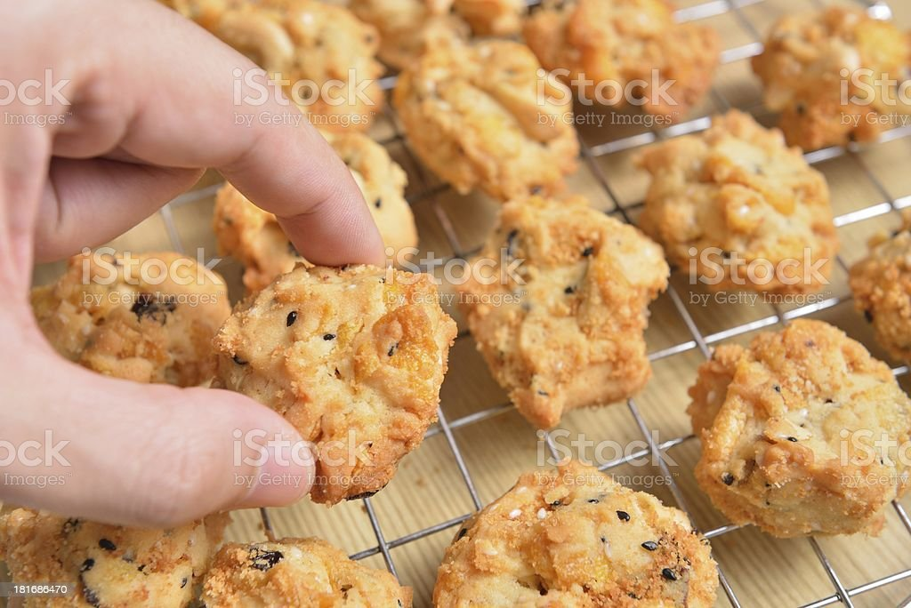 Cereal cookies on the stainless sieve royalty-free stock photo