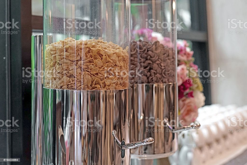 cereal cornflakes on buffet table stock photo