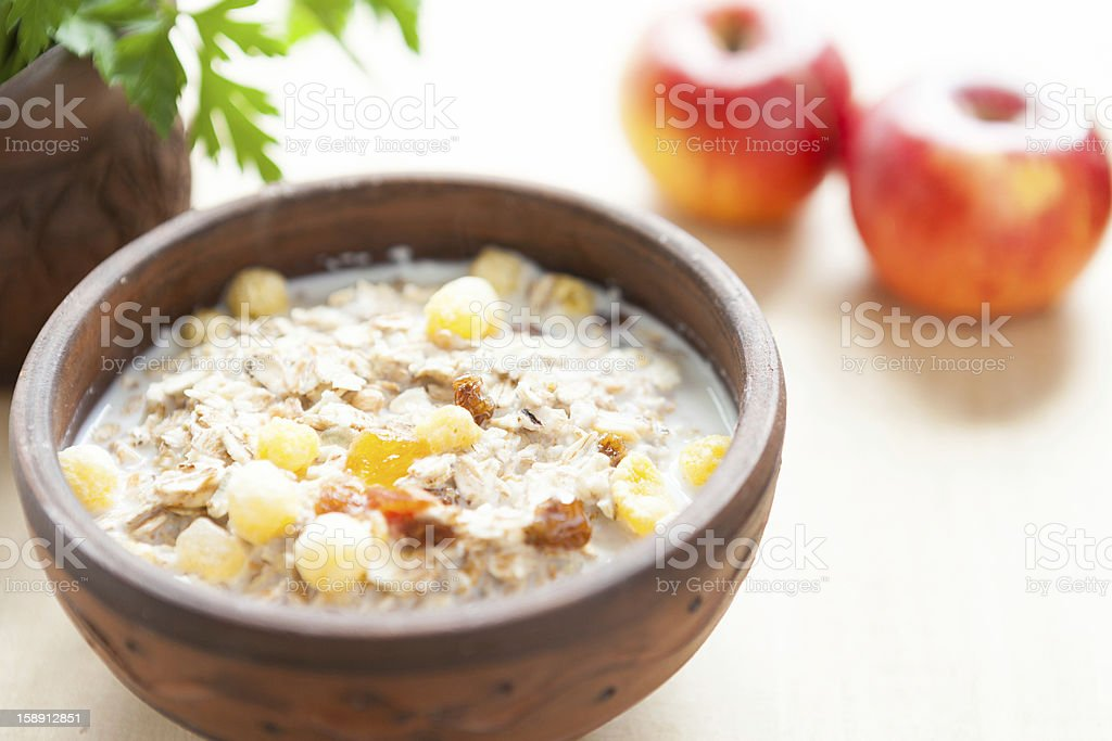 Cereal flakes with hot milk - a quick breakfast royalty-free stock photo