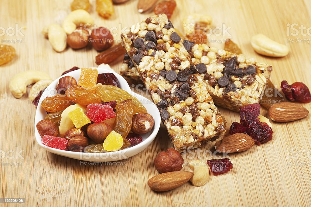 Cereal granola bars with nuts and dried fruit royalty-free stock photo
