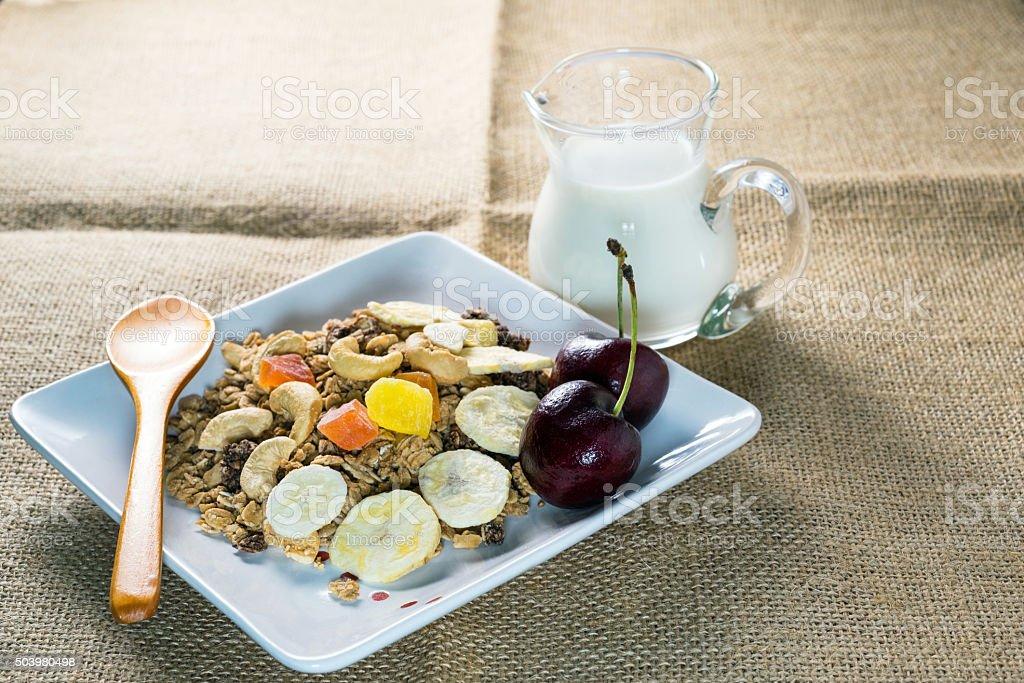 Cereal Granola with fresh milk stock photo