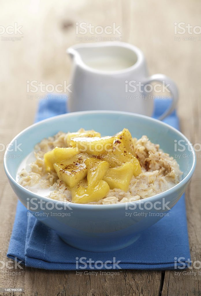 cereal with caramelized apple royalty-free stock photo