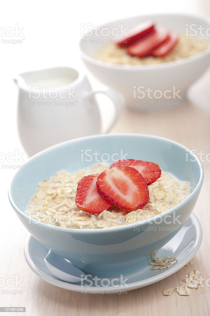 cereal with fresh strawberry royalty-free stock photo