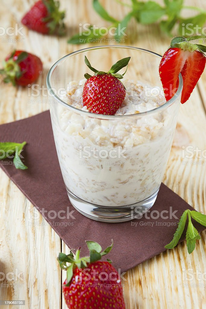 cereal with milk and strawberries royalty-free stock photo