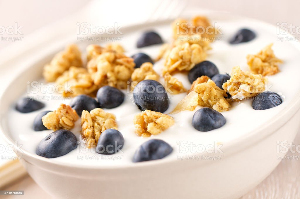 Cereal with Yogurt and Blueberries royalty-free stock photo
