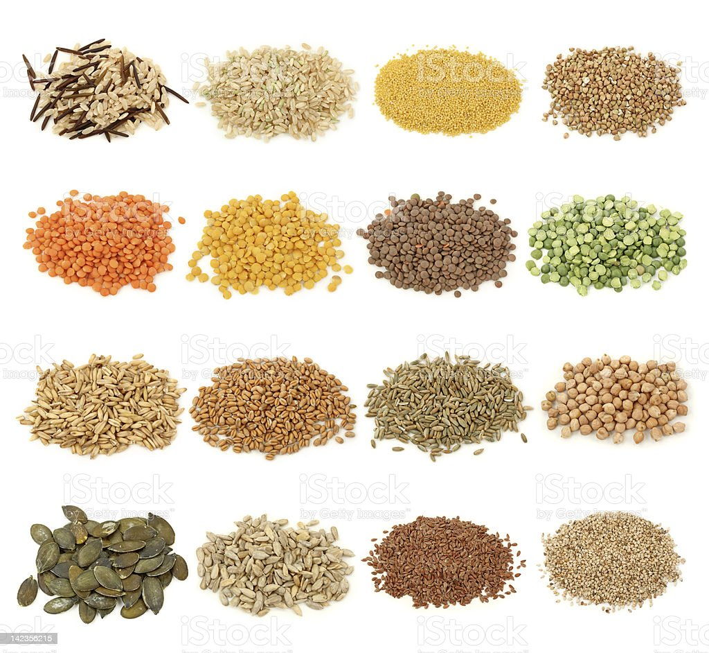 Cereal,grain and seeds collection stock photo