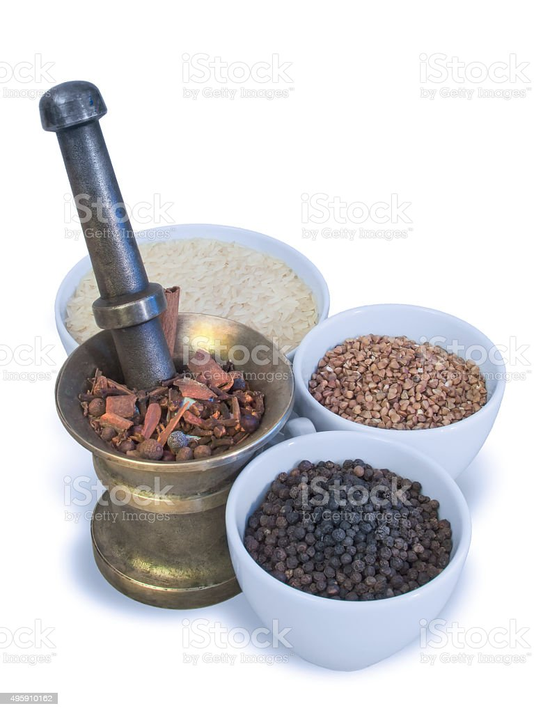 cereals and grains in vessels stock photo
