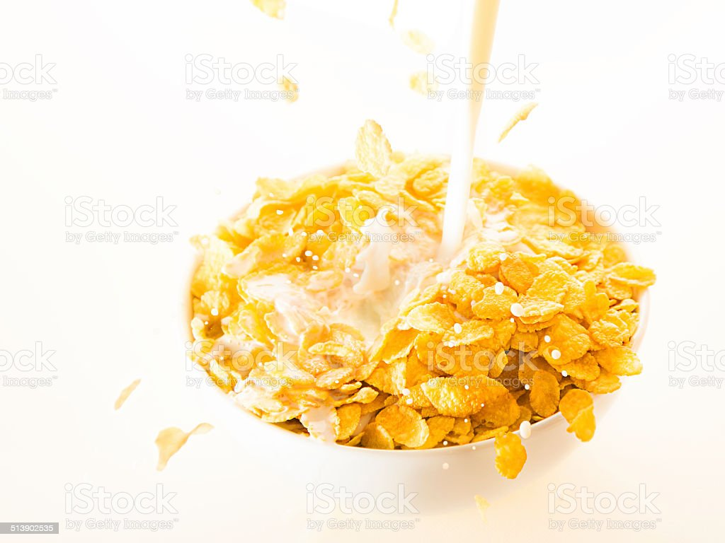 Cereals and milk stock photo