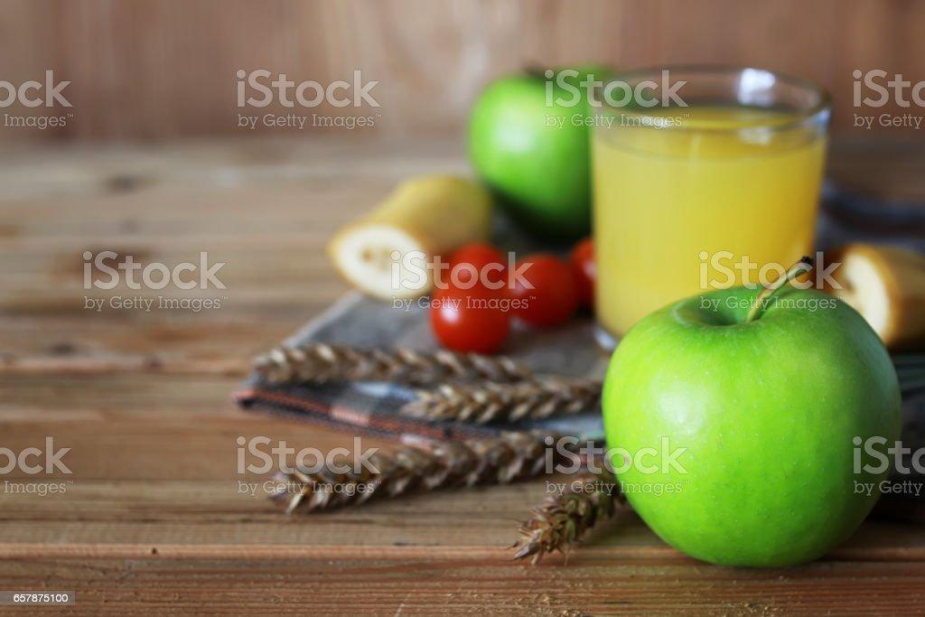 cereals breakfast apples spikelets stock photo
