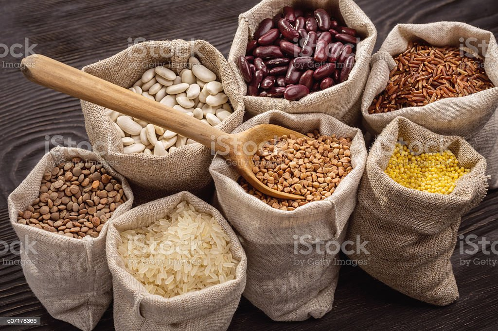 Cereals in bags. stock photo